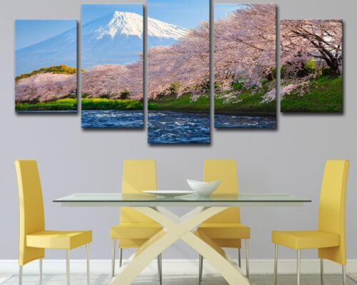 Cherry blossoms or Sakura and Mountain Fuji at the river in the morning;